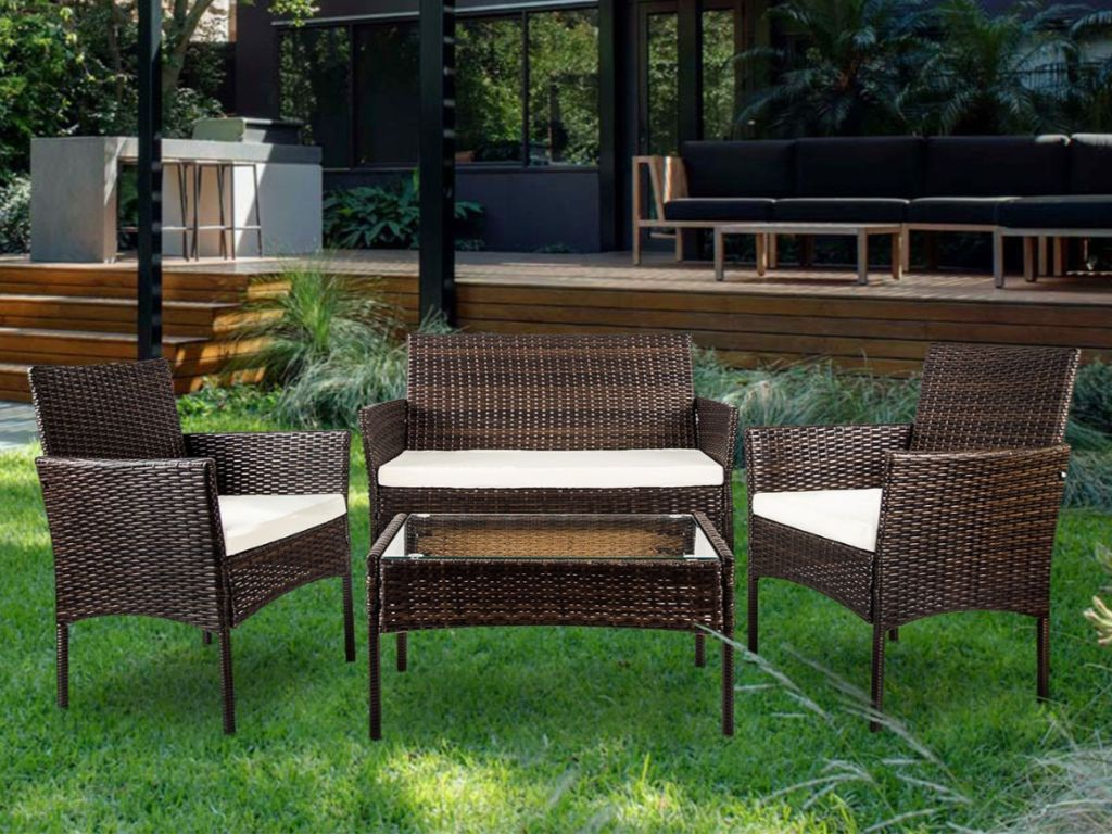 Admirable 4 Piece Rattan Outdoor Patio Furniture Set Only 170 99 Home Interior And Landscaping Ferensignezvosmurscom