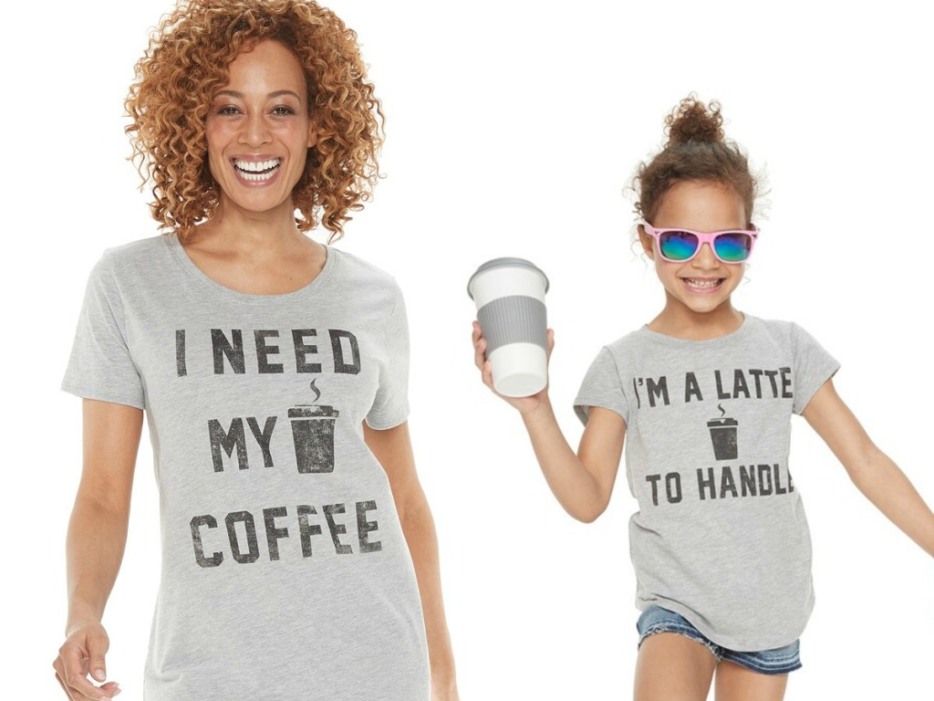 """Woman and young girl wearing Mommy & Me """"Coffee"""" & """"Latte"""" Graphic Tees"""
