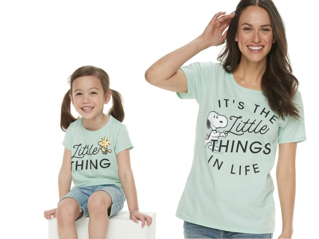 """Woman and toddler girl wearing Mommy & Me Peanuts """"Little Things"""" Graphic Tees"""