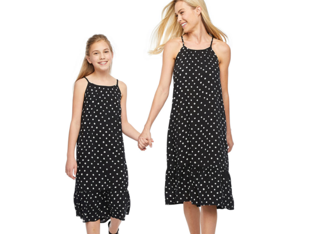 Woman and girl wearing Mommy and me Peyton & Parker Black Dot Dresses