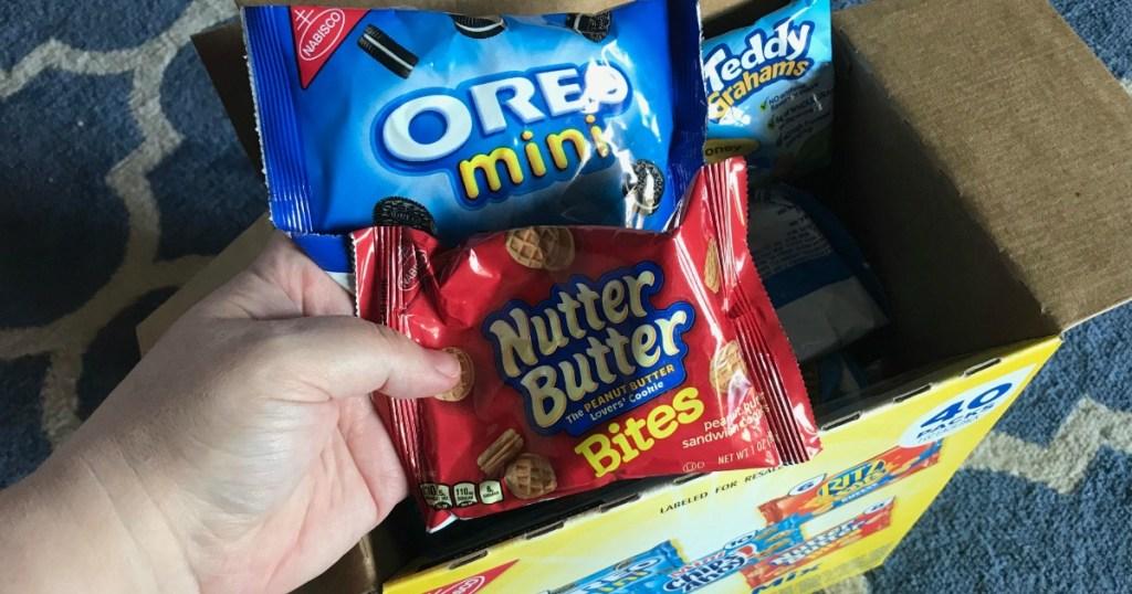 hand holding bag of nutter butter