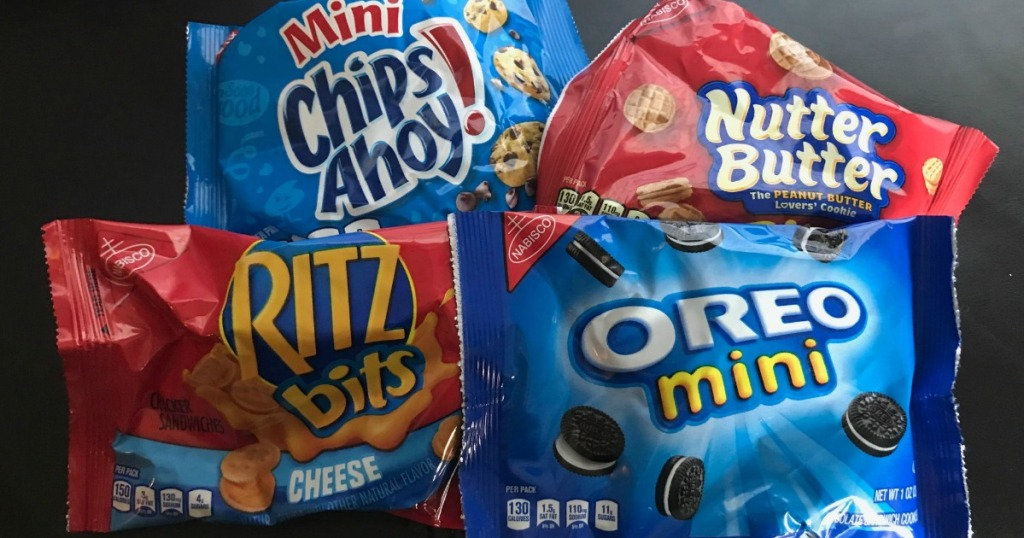 chips ahoy, oreos, nutter butters, and ritz crackers displayed together