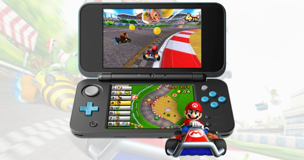 nintendo ds game with mario kart playing in the background and on the device
