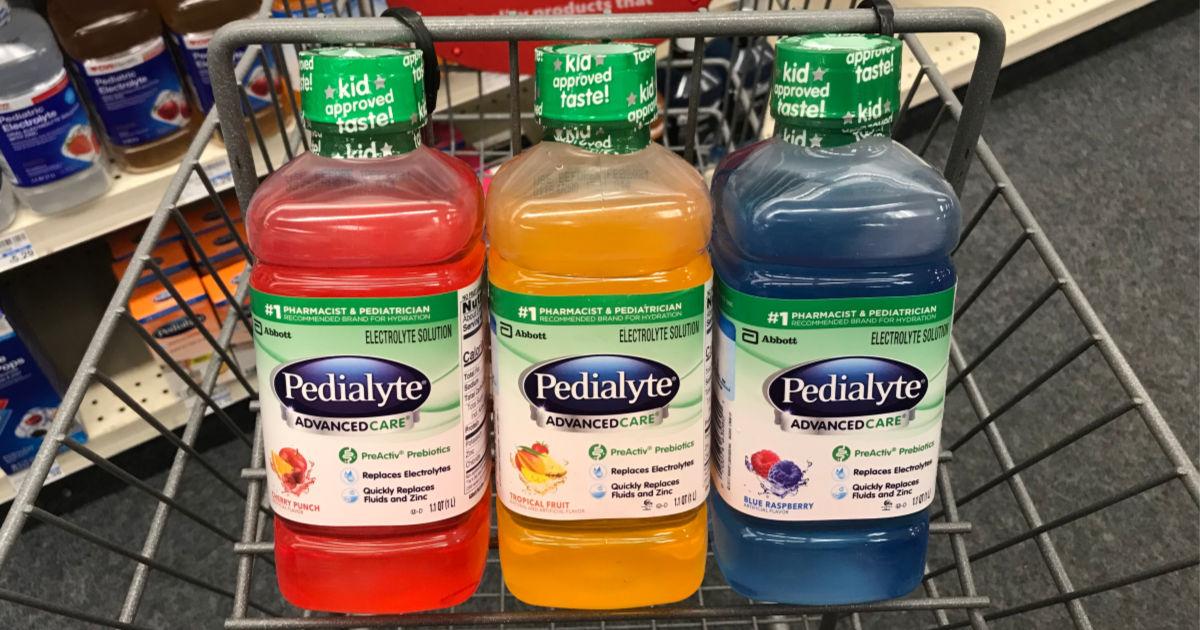 Pedialyte bottles in a shopping cart