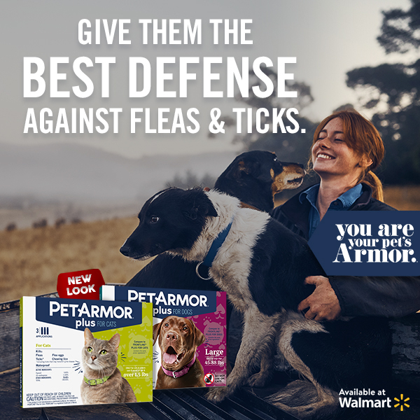 "PetArmor Plus Walmart marketing reads: ""Give them the best defense against fleas & ticks."""