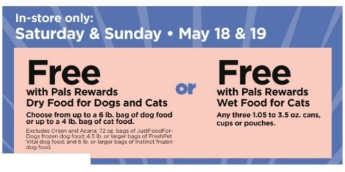 Free Pet Food at Petco (5/18 & 5/19)
