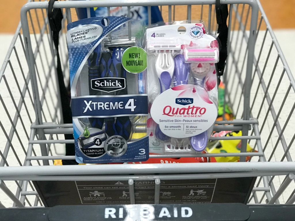 schick xtreme4 and quattro in rite aid cart