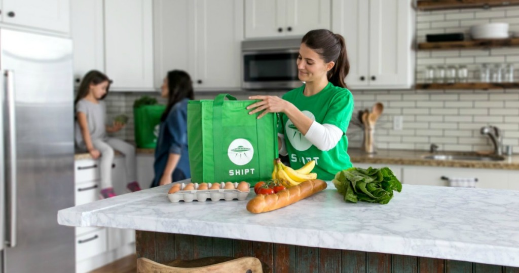 shipt grocery shopper unpacking groceries in kitchen