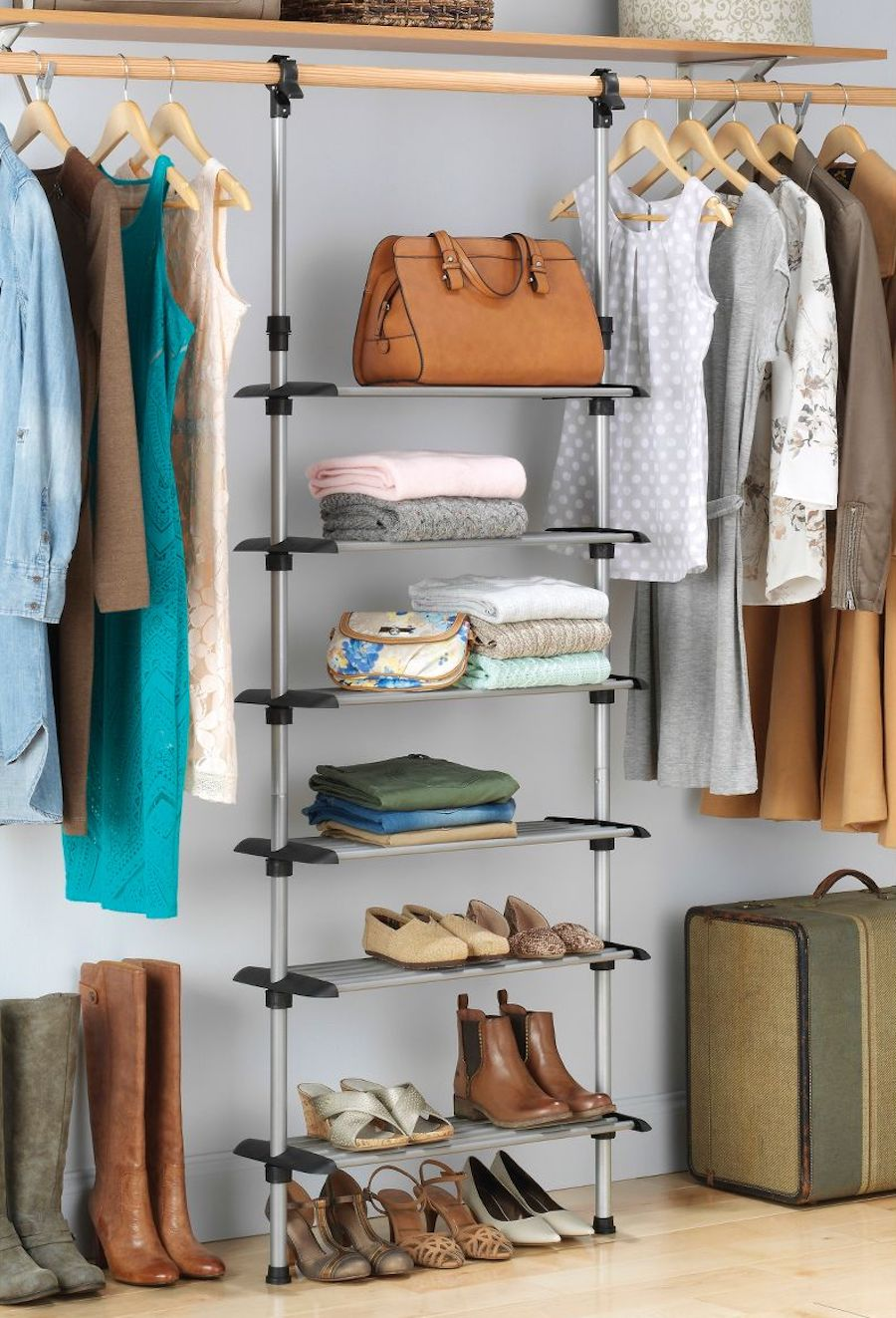 Shoe Rack hanging inside organized closet
