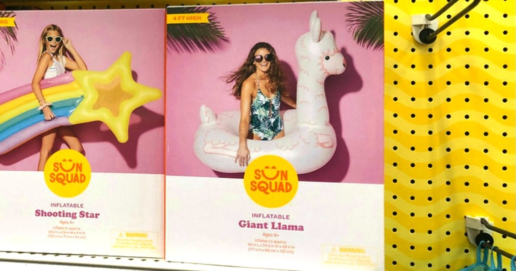 sunsquad giant llama pool float on shelf