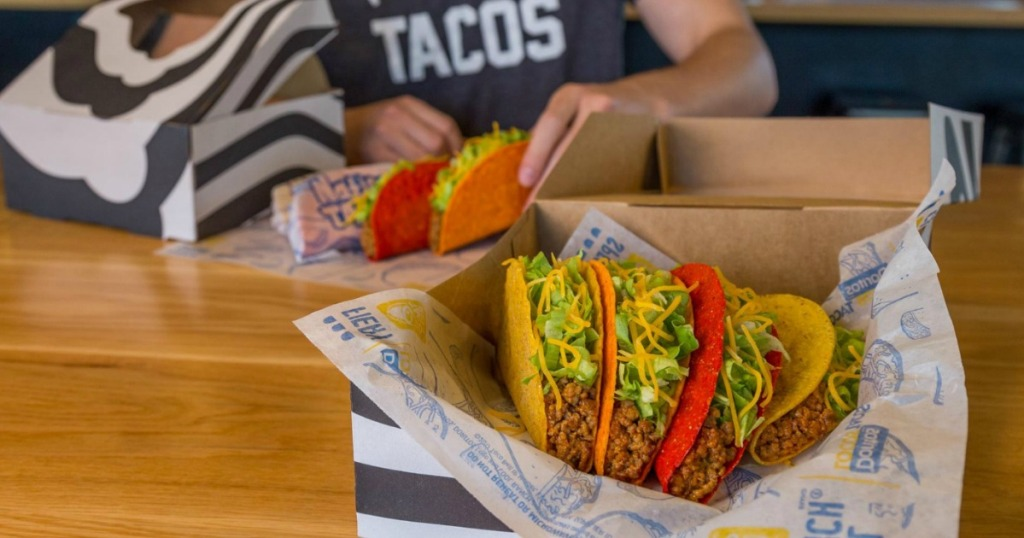 Taco Bell Tacos in sitting on a tray