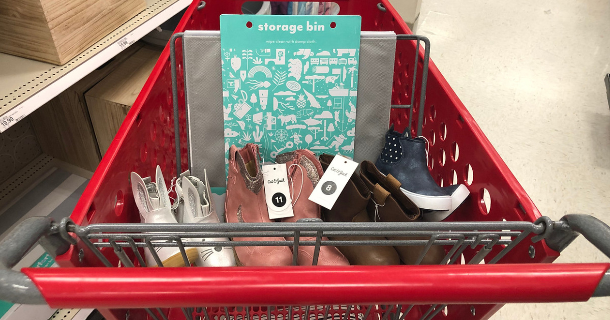 Target Shoes with storage bin in cart