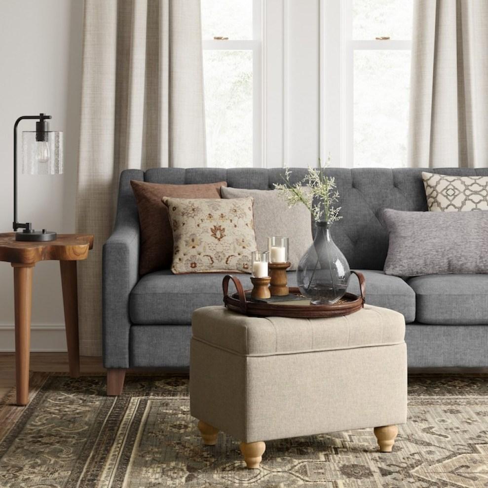 cream storage ottoman in living room