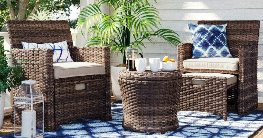 Threshold Halsted 5-Piece Wicker Small Space Patio Furniture Set