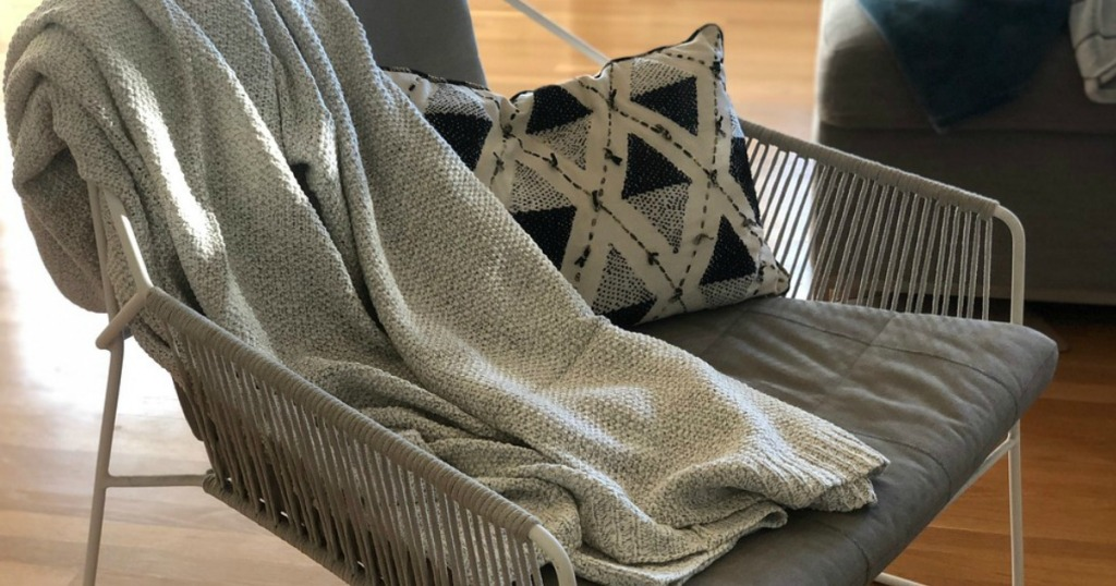 Threshold Sweater Knit Blanket Grey