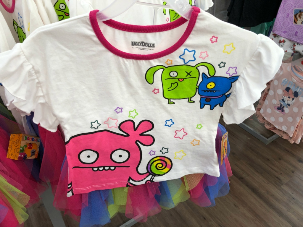 Ugly Dolls Girls Ruffled Tee and Mesh Tutu 2pc Outfit Set