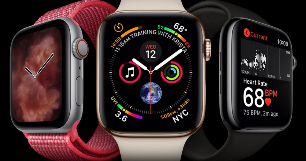 Apple Watch Series 4 in red, white, or black