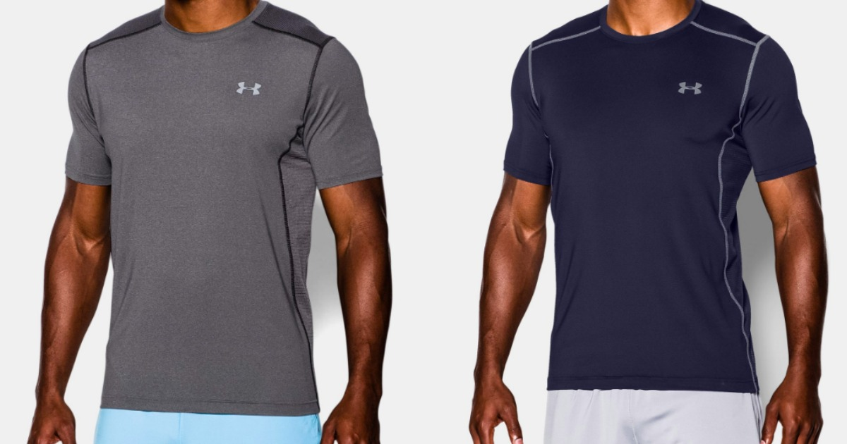 Men wearing two color options of Under Armour Men's Raid Short Sleeve T-Shirt