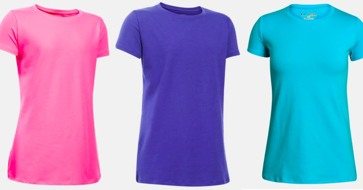 women's under armour tees in pink, blue, and turquoise