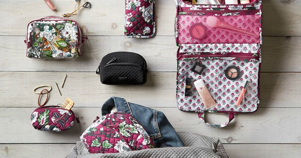 vera bradley cosmetic bags on hardwood floor