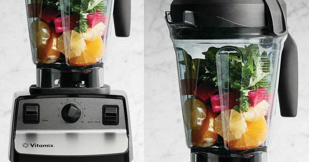 vitamix blender with produce inside