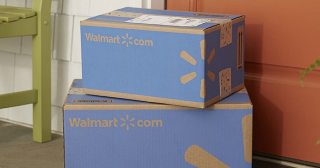 stack of two walmart blue boxes by front door