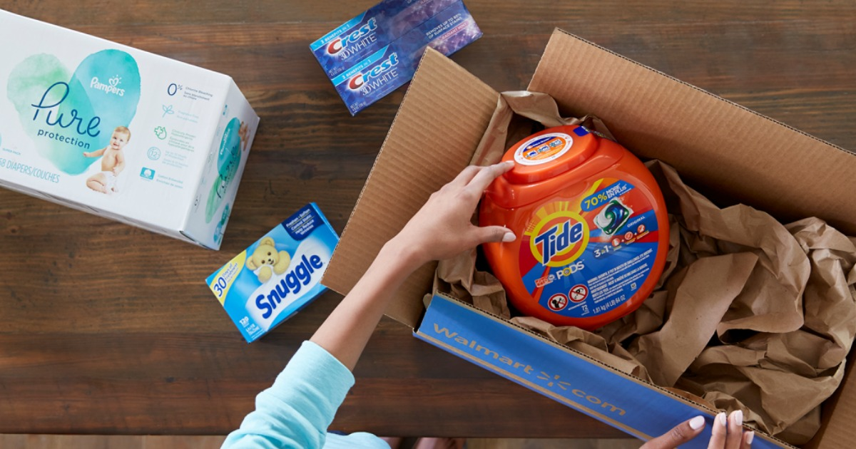 unboxing Tide, Snuggle, and Crest from a Walmart delivery box