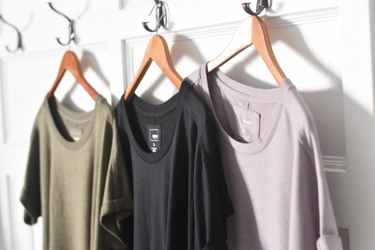 Kohl's sonoma goods tunics hanging on hangers