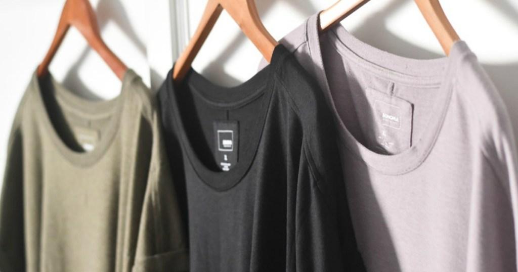 women's shirts on hangers
