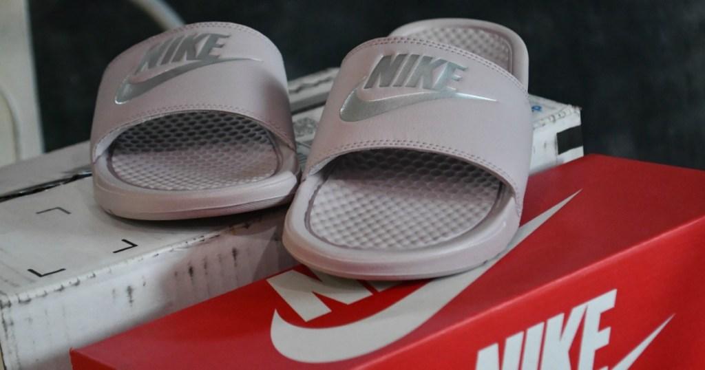 Nike Womens Benassi JDI Slide in Particle Rose/Metallic Silver 9 B (M) Nike Benassi JDI Slide Color: Particle Rose/Metallic Silver