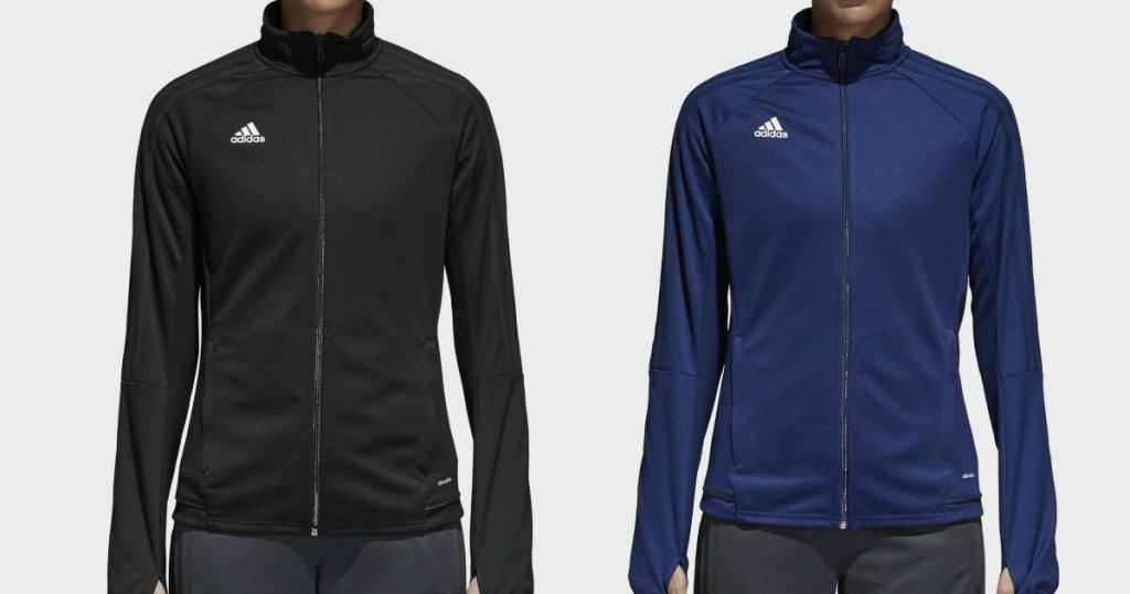 women modeling black and blue adidas jackets