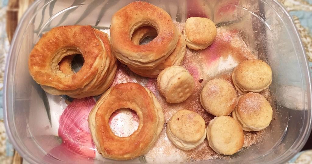 tupperware dish of fresh air fryer donuts