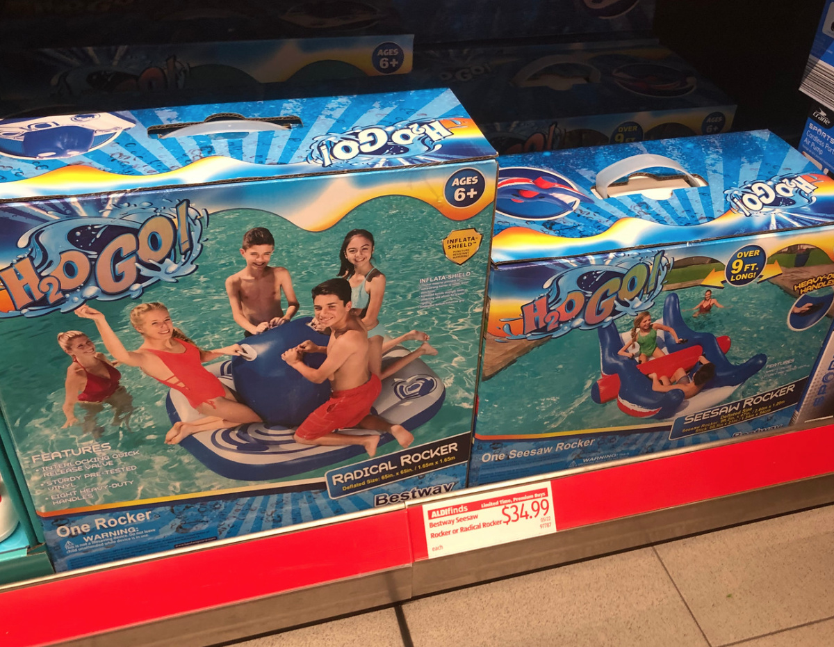 aldi pool floats in boxes on store shelf