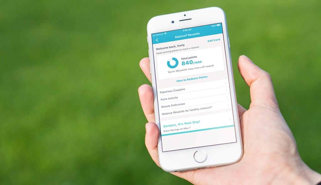 balance rewards points shown on walgreens app