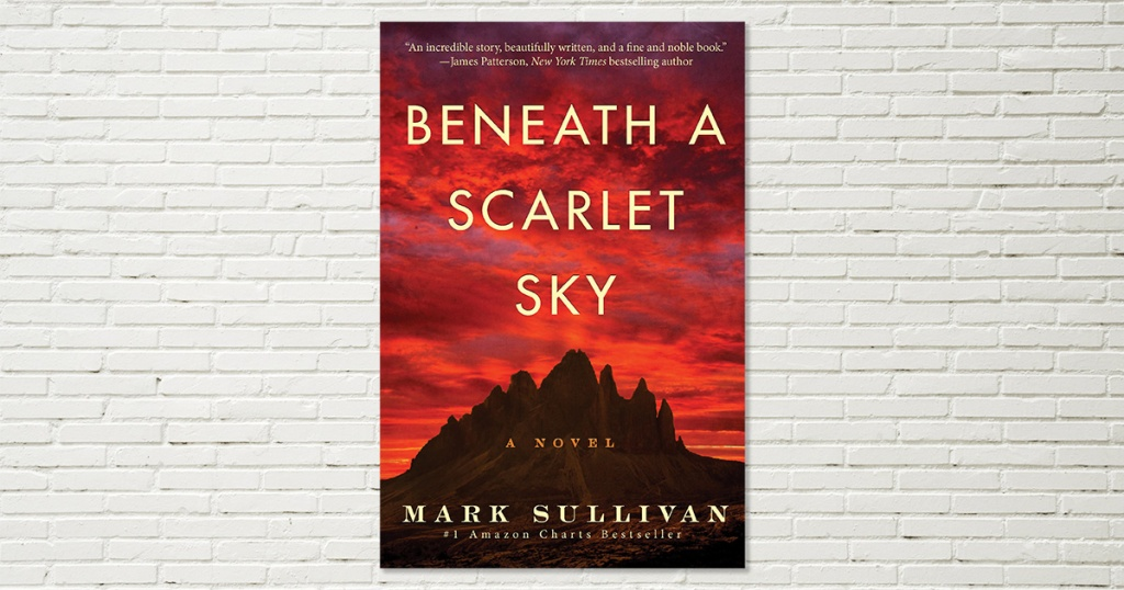 beneath a scarlet sky novel cover
