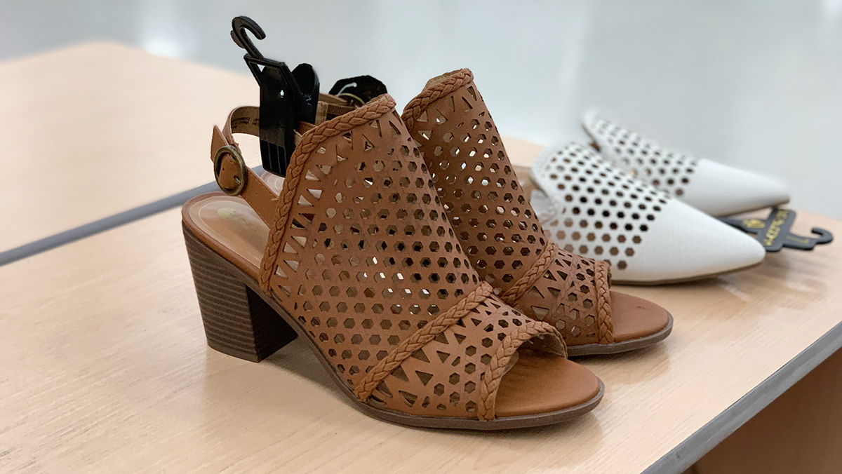 walmart shoes — tan perforated caged heels