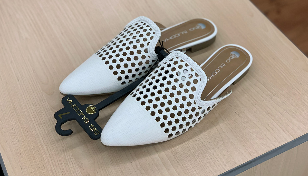 walmart shoes — white perforated pointed toe mules