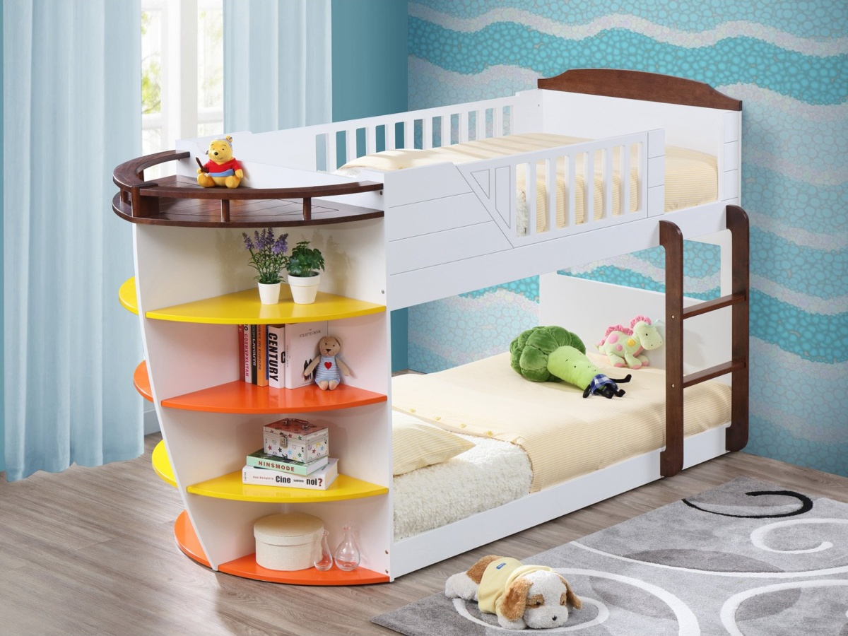 Boat-shaped bunk bed with shelves