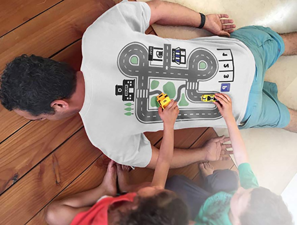kids using mini cars on car track t shirt