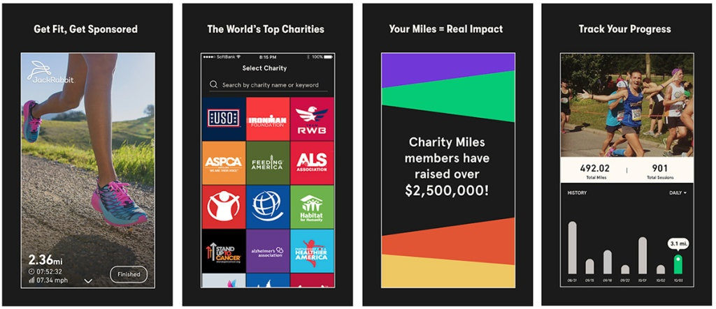 screenshots of charity miles app on android