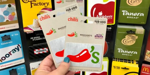 Free $10 Walgreens Gift Card w/ Gift Card Purchases | Chili's, Cabela's & More