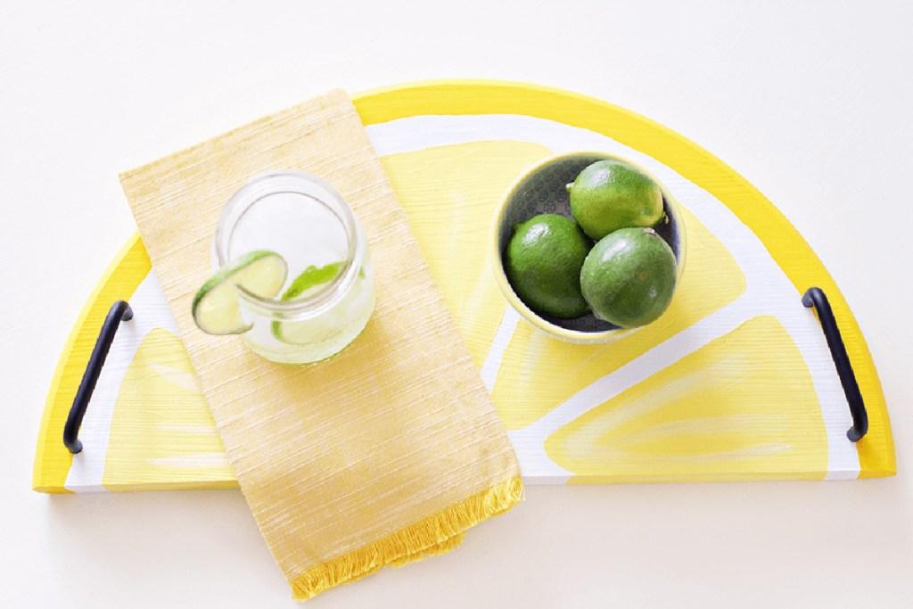 lemon citrus serving tray diy project