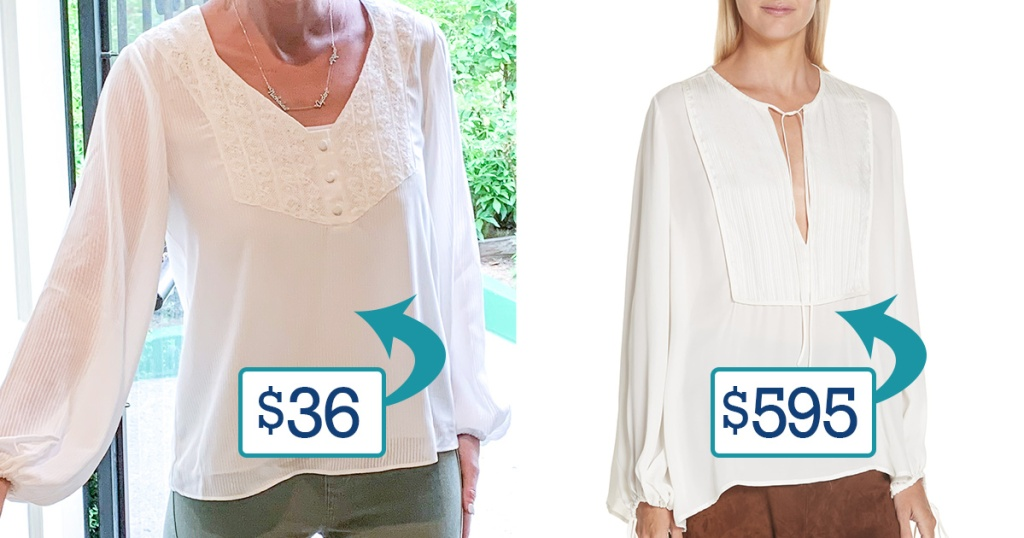 side by side comparison of collin in walmart peasant top compared to designer top