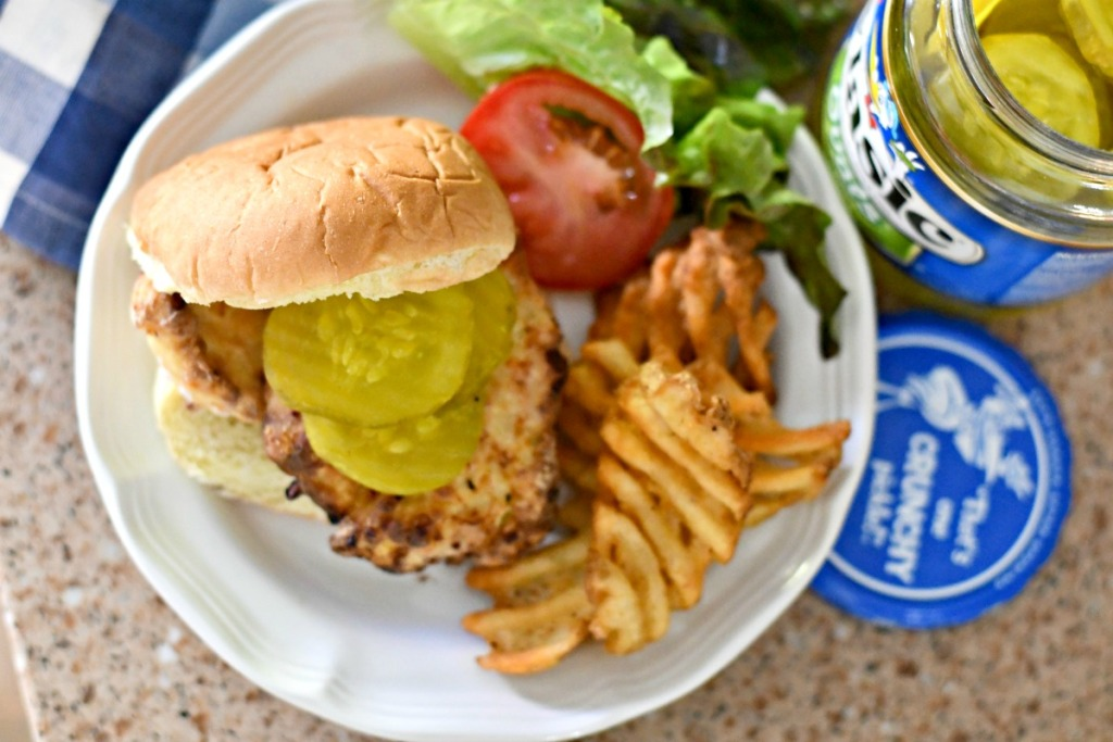plated copycat air fryer chick-fil-a sandwich with pickles