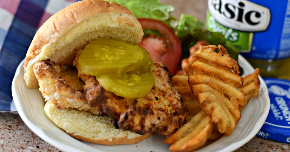 plated copycat Chick-fil-A copycat chicken sandwiches made in an air fryer