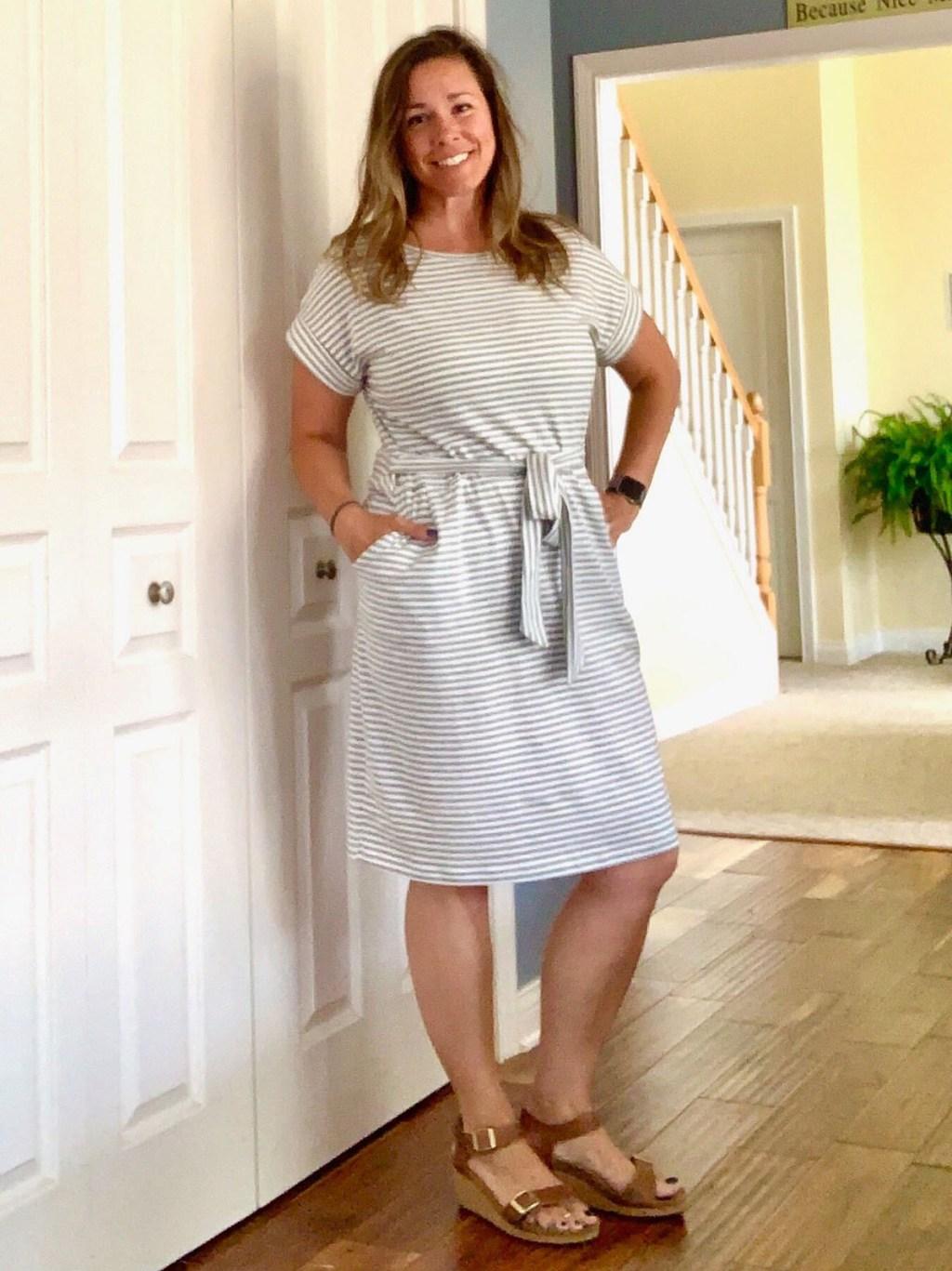 woman wearing pencil dress from Amazon