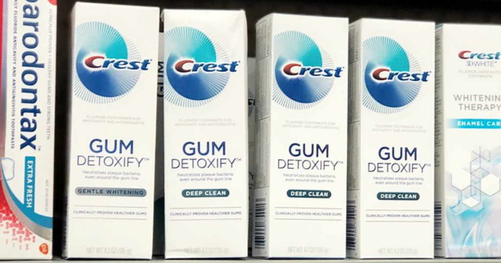 Shelf display of Crest Gum Detoxify Toothpaste
