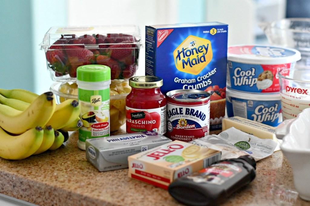 easy ingredients for banana split dessert on the counter