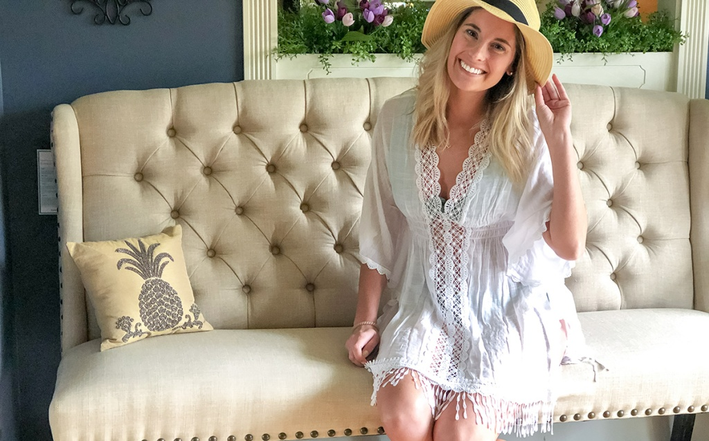 walmart wednesday – emily wearing sun hat and crochet coverup