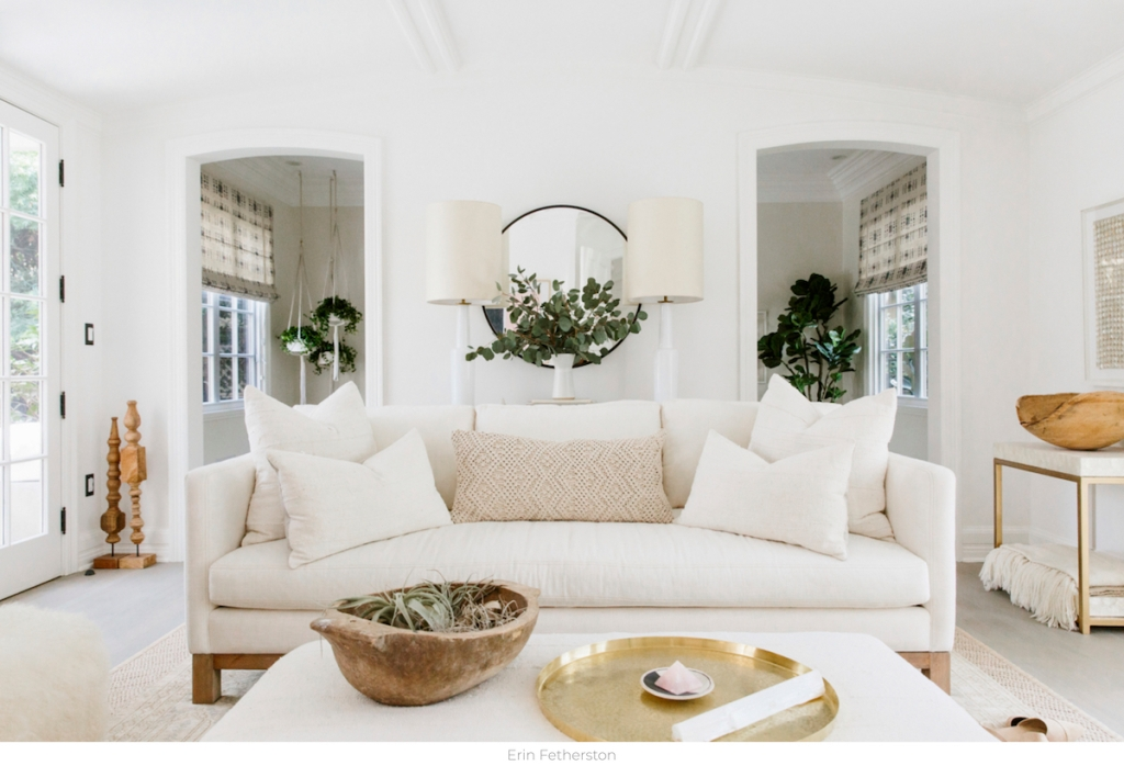 white living room with couch lamps
